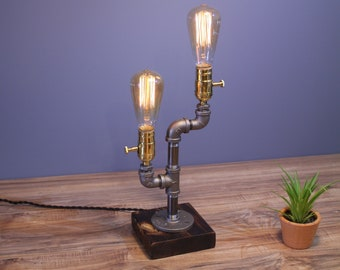 Handmade Unique Steampunk Two Bulb lamp, Edison lamp, Table lamp, Industrial lamp, Desk lamp, Pipe lamp, Desk accessories