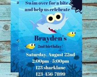 Baby Shark Birthday Invitation Invite Party