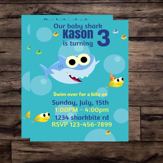 Baby Shark Birthday Invitation Etsy T