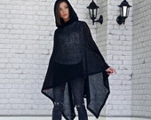 Women Wool Knit Black Poncho With Hood