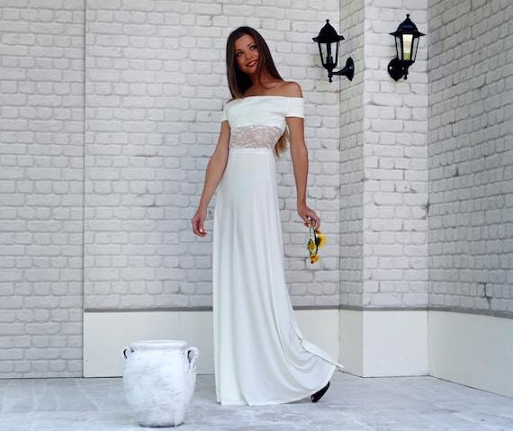 Off Shoulder Beach Wedding Dress