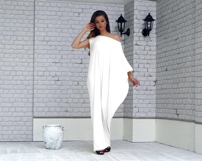 be7e9d3fc9c Plus Size Loose White Kaftan Maxi Dress Asymmetrical dress
