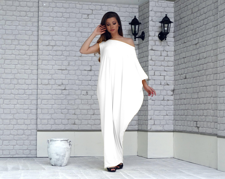 Plus Size Loose White Kaftan Maxi Dress Asymmetrical dress | Etsy