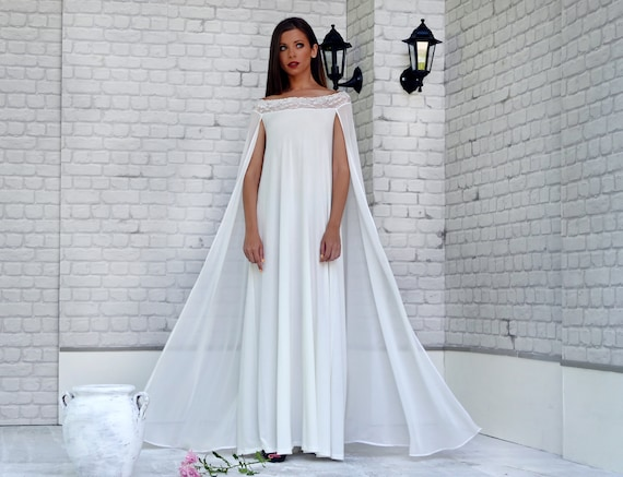 Wedding Gown With Cape: Cape Off Shoulders Plain Chiffon Wedding Dress Plus Size