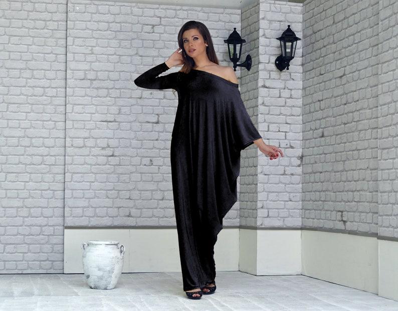 e485146a901 Black Asymmetrical Long Sleeve Maxi Dress