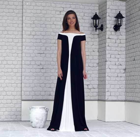 Plus size Black Off Shoulder Slim Maxi Dress