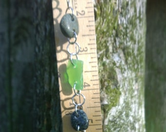Green Lake Michigan Stone and Beach Glass Bracelet