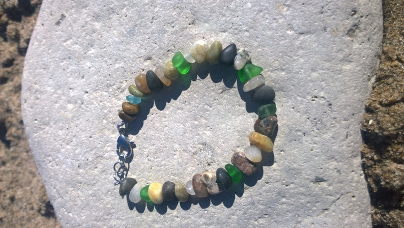 A Colorful Blend of Small Lake Michigan Stones and Beach Glass Bracelet