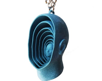 """Pendant necklace """"Echoes"""", blue, face and vibration. 3d printed nylon."""