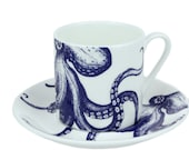 Blue And White Bone China Espresso Cup Saucer With Octopus Design