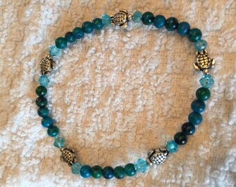 Sea Turtle and Turquoise Elastic Bracelet
