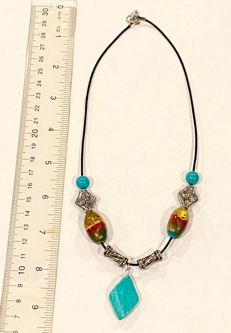 Southwestern Turquoise Beaded Pendant Necklace