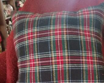Black and Red Tartan Plaid Pillow
