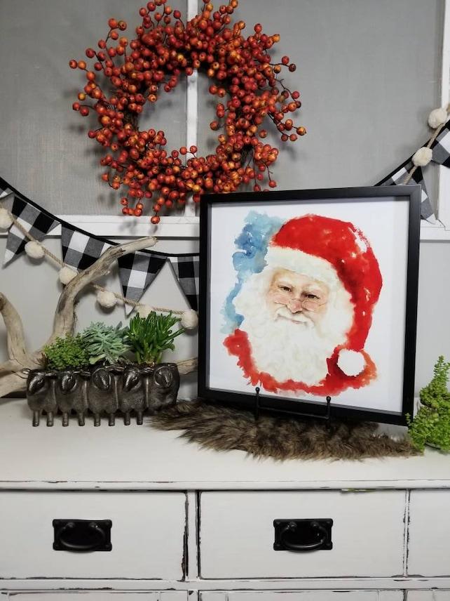 SANTA CLAUS PRINT watercolor Santa Claus wall art print | Etsy