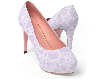 649ce228adb540 Purple Pastel Lilac Lavender Lace Printed Design Wedding Bridal Womens  Platform Heels Shoes Pumps