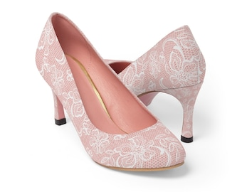 d94939c479 Pastel Pink Lace Printed Design Wedding Bridal WomenS High Heels Shoes Pumps