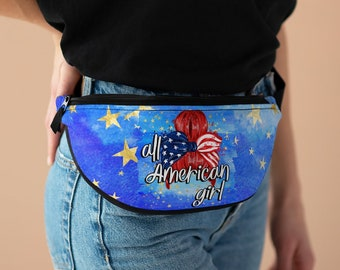 All American Girl Patriotic Fanny Pack - Camping, Hiking, Photo Pack,  Made to Order & Shipped from USA