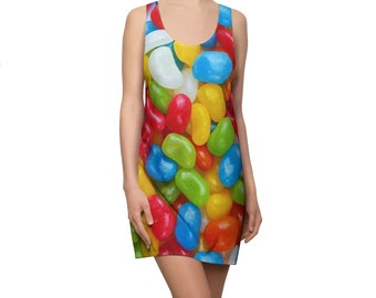 Jellybeans, Candy Print Women's Racerback Dress Printed in USA