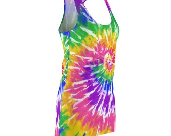 Tie Dye Hippy Retro Women's Cut & Sew Racerback Dress Printed and Ships from USA