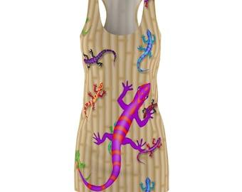 Lizard Salamander Reptile Tropical Print Womens Racerback Dress Printed In USA