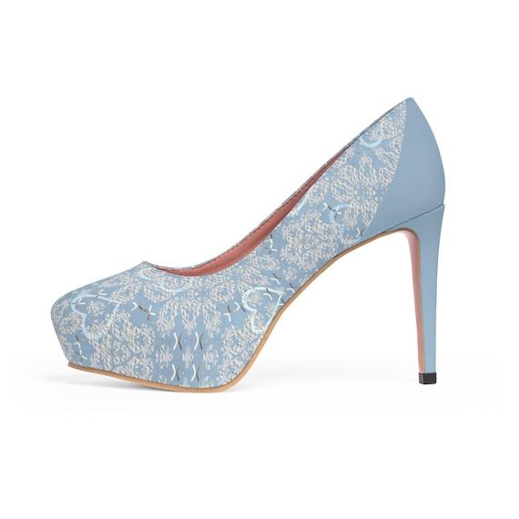 b61289b6b55de Pastel Blue Heart Lace Printed Wedding Bridal WomenS Platform Heels Shoes  Pumps