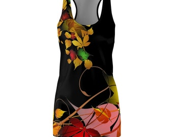Colorful Leaves Print WomenS Racerback Dress Printed In Usa