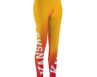 Kansas City Chiefs Professional Football Orange And Blue Womens Cut  Sew Casual Leggings