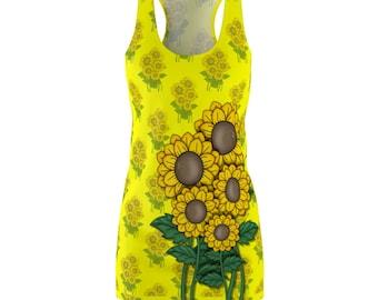 Bright Summer Sunflower Print Womens Racerback Dress Printed In Usa