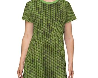 Green Snakeskin Design Print T-Shirt Dress