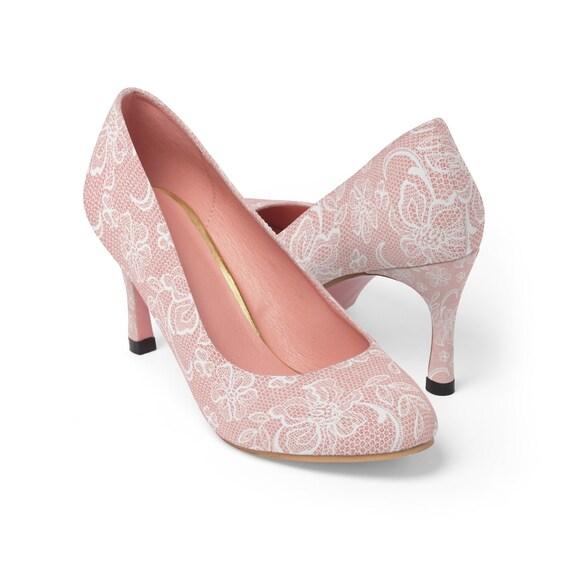 pink lace pumps