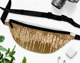 Dripping Glitter Gold Fanny Pack - Camping, Hiking, Photo Pack,  Made to Order & Shipped from USA