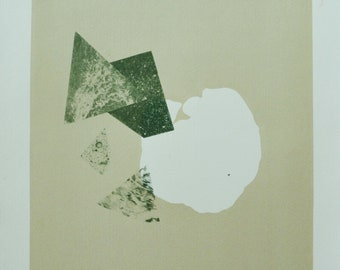 Title: 'Fragmentation' - Limited Edition Lithograph. Abstract Green Print. Acid free 100% archival paper.