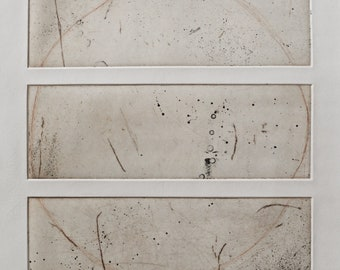 Title: 'Lingua Franca 1' - Limited Edition copper etching. Abstract triptych in earthy colours. Acid free 100% archival paper.