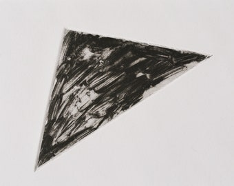 Title: 'Triangle' Unique One-Off Copper Etching. Monochrome abstract triangle. Acid free 100% archival paper.