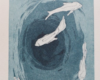 Title: 'Fish Pond' - Limited Edition copper etching. Fish motif in blue water. Acid free 100% archival paper.