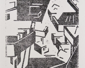 Title: 'Northside' - Limited Edition Woodblock Print. Abstract monochrome motif. Acid free 100% archival paper.