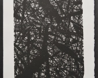 Title: 'Dark Forest' - Limited Edition Lithograph. Abstract monochrome motif. Acid free 100% archival paper.