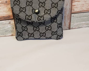 a8fbc99efa3d Custom made coin purse with snap, small organisation pouch. Fully lined  pouch inspired grey GG Gucci Fabric planner mum bag christmas