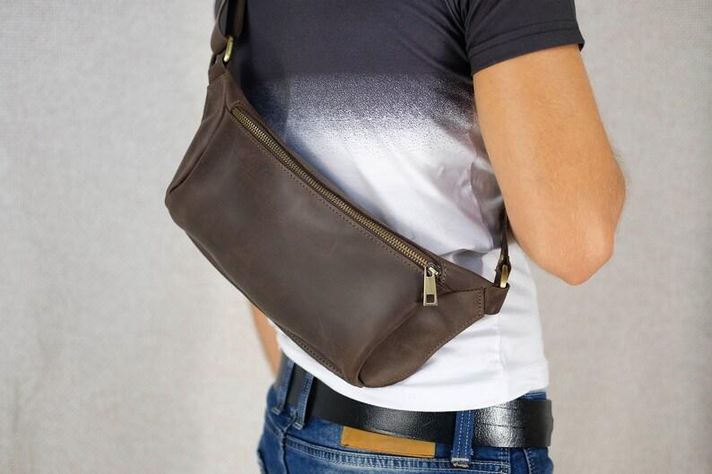 34ac21ffa1b9 Bum bag Men Fanny pack leather Waist bag leather brown belt