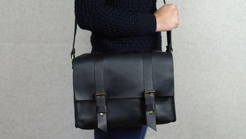 625f750cb1 Messenger bag Leather bag for men Black briefcase Office bag
