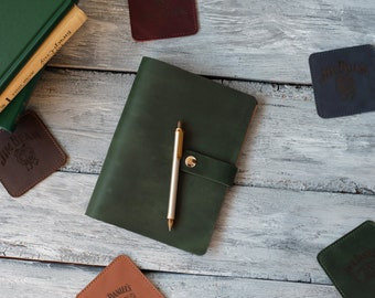 Personalized A5 leather binder notebook Green writing journal Refillable refill journal diary with logo and text