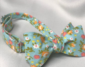 Sky Blue Calico Bow Tie
