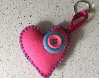 Felt Heart Keyring / Bag Charm