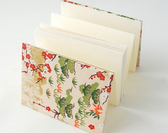 IDOLBOOK Handmade, Traditional book with beautiful pattern for calligraphy, Folding binding, Peach Blossom and Lucky Sakura