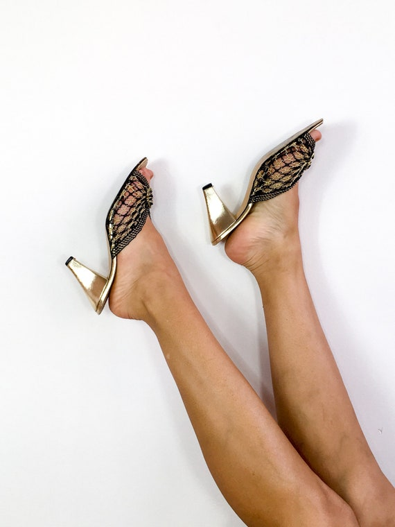 80s vintage black and gold woven peep-toe mules.