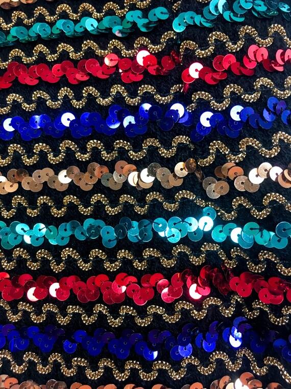 60S/70s vintage sequinned rainbow leotard/bodysui… - image 5