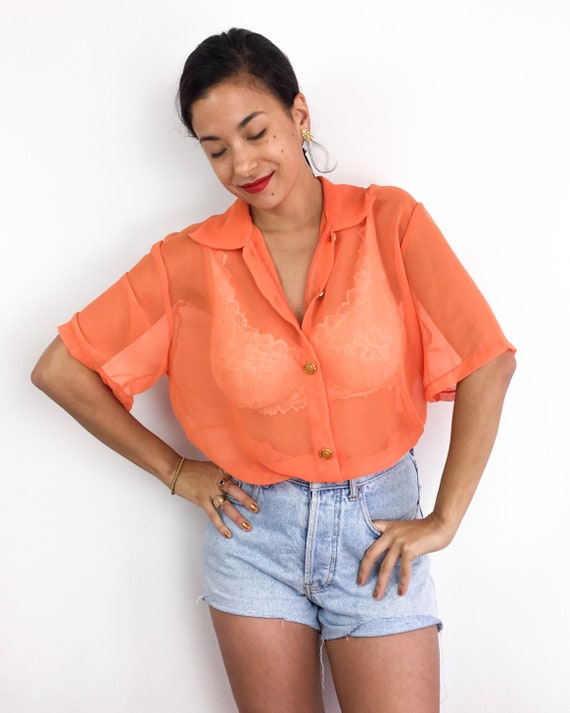 Shear orange vintage 70s short sleeve blouse with