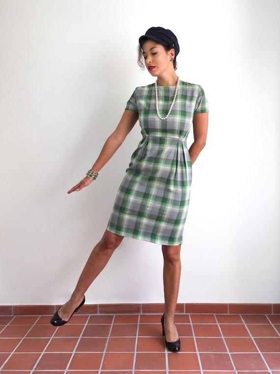 Vintage 50s handmade plaid print dress in tones of