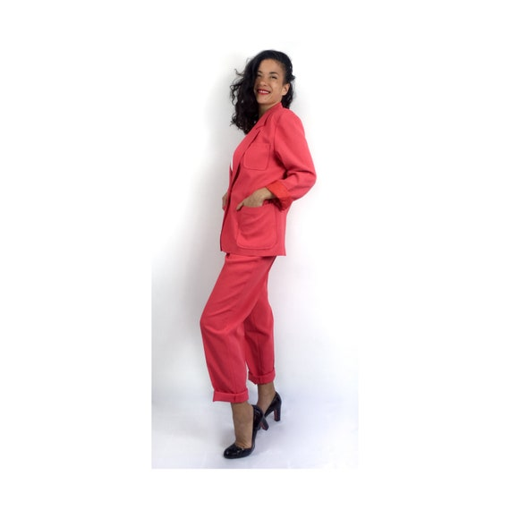 80s vintage strawberry pink pant suit