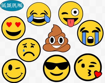 Emoji SVG Bundle Poop Svg Clipart Smiley Face Crying Files For Silhouette Cricut Dxf